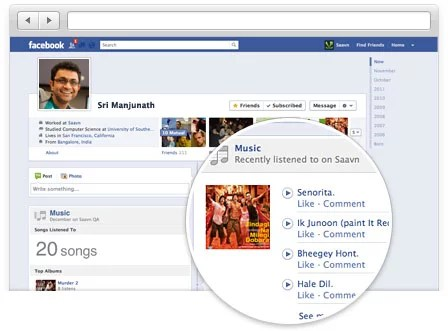 Saavn partners with Facebook Open Graph- Listen,Share and explore music