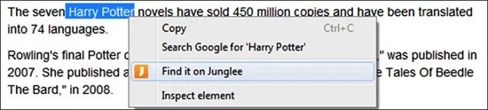 Junglee Chrome Extension product search through highlight the text on webpage