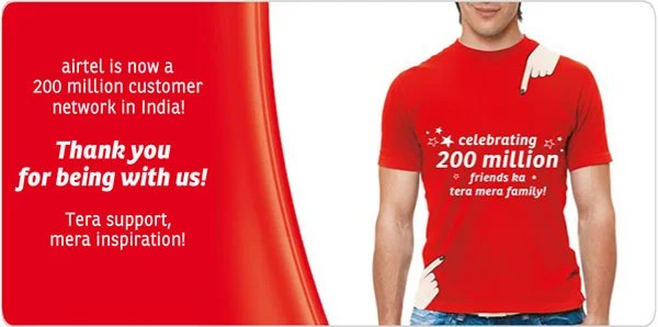 Bharti Airtel Now has 200 million Customer in India