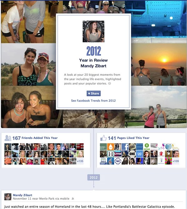 Facebook personal 'Year in Review'