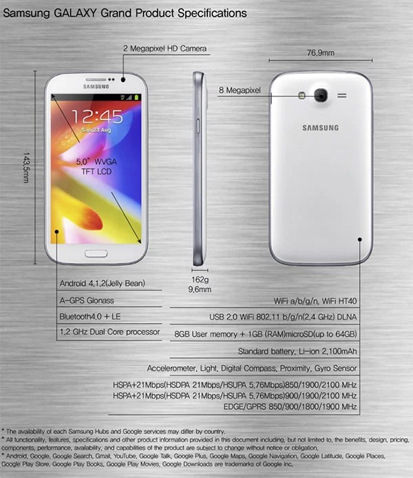 Samsung GALAXY Grand product specification