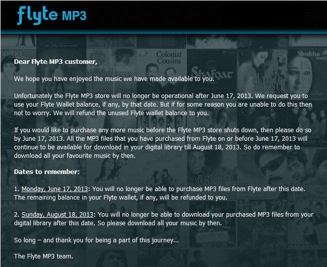 Flipkart Shutting Down Flyte MP3 Store on June 17, 2013