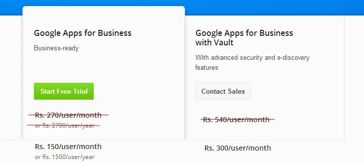 Google Apps for business India Price Drop