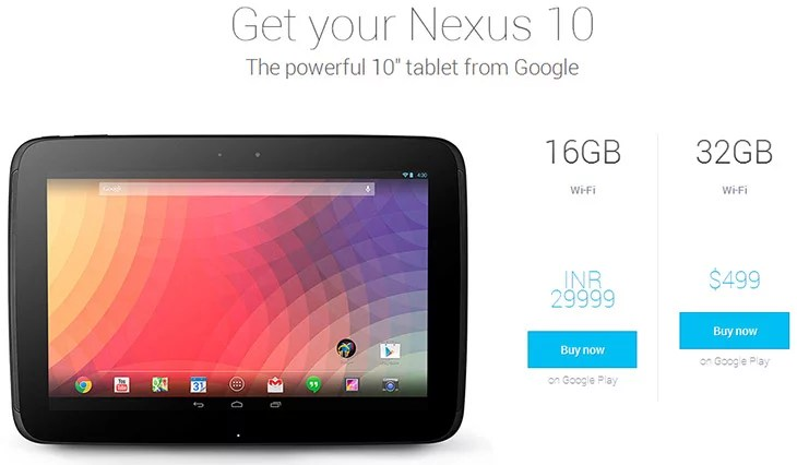 Nexus 10 tablet pricing India