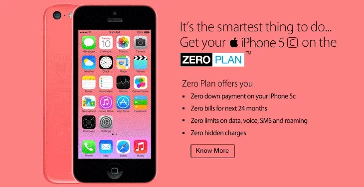 RCom revises the iPhone 5c & 5c contract Prices - Introduces Zero Plan Offer