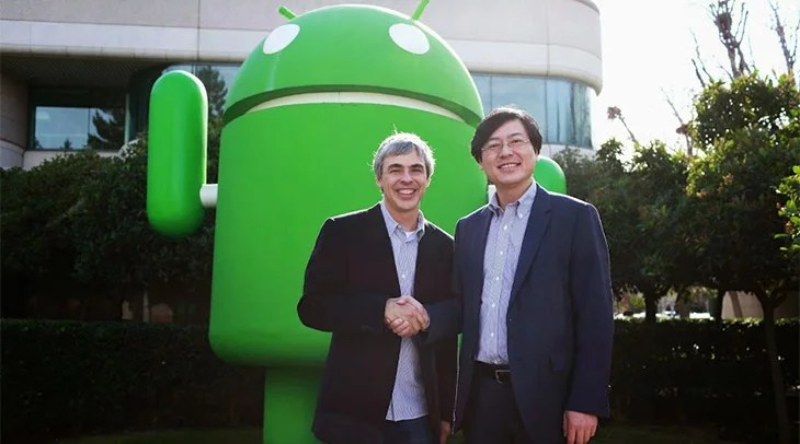 Photo of Larry Page, CEO of Google, and Yang Yuanqing, Chairman and CEO of Lenovo, by Christophe Wu / Google.