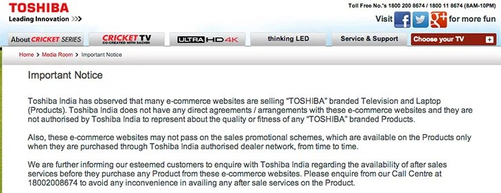 After Lenovo, Toshiba warns users Buying from Indian online retailers