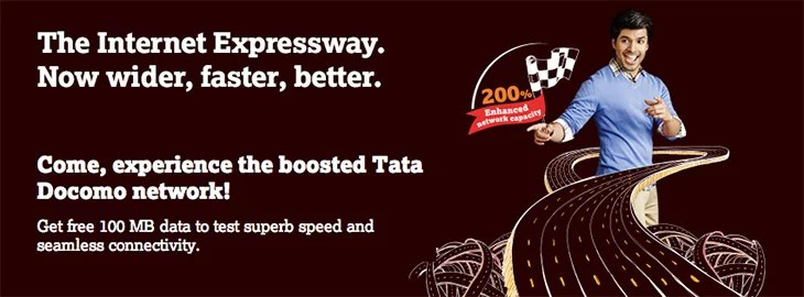 Tata Docomo boosted its Network by 200% - Get Free 100 MB 2G/3G Data to Try
