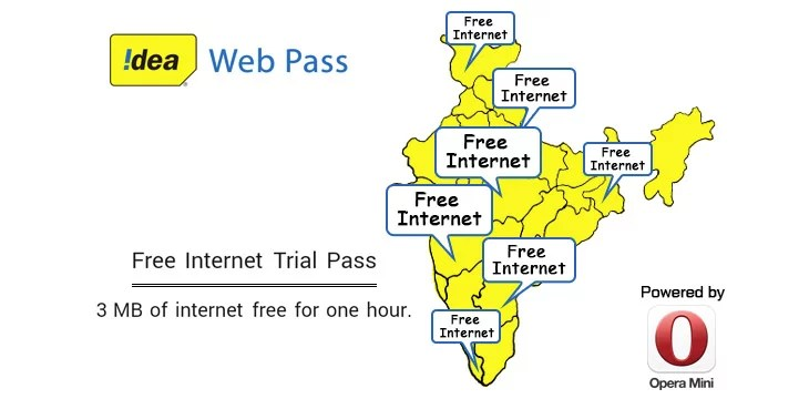Idea to offer Free Internet to its users through Opera Mini Web Pass
