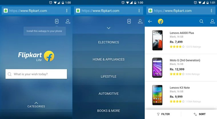 Flipkart comes back with its Mobile Website - launches Flipkart Lite
