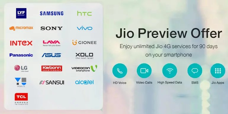 Reliance Jio Preview offer open up for HTC, Intex and Vivo smartphones