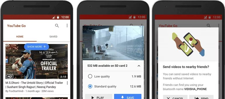 YouTube Go app for India - takes video offline and share