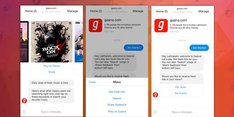 Now chat for Music with Gaana Facebook Messenger Music Streaming Bot