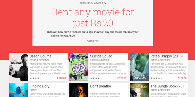 Rent any Movie for Just Rs 20 at Google Play Movies India