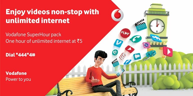 Vodafone SuperHour Voice and Data Pack - Get Unlimited 4G, 3G, 2G data at Rs 5 an hour