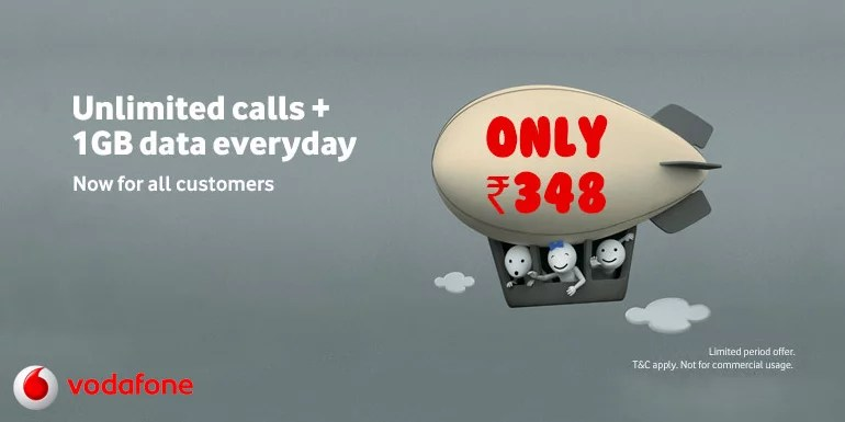 Vodafone India open up its Unlimited Calls and 1GB data per Day Pack to all Customers