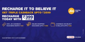 Reliance Jio Triple Cashback Offer - Get Cash back on every Recharge