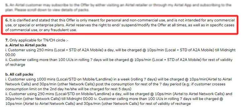 Airtel Unlimited Voice calls New Terms and Condition