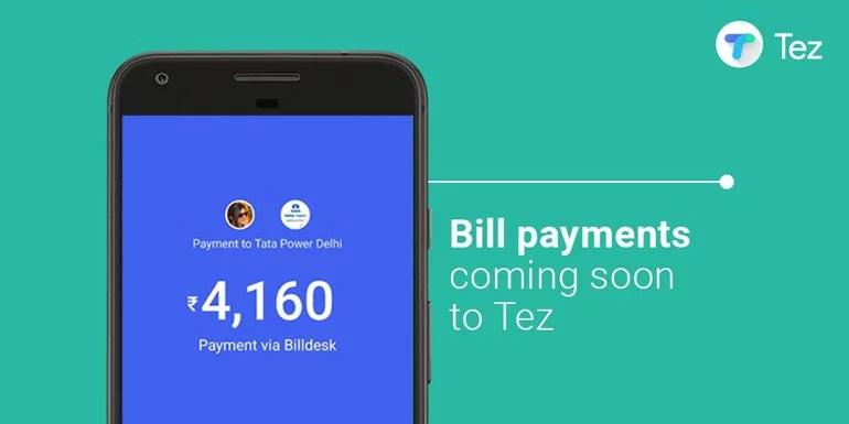 Google Tez mobile payments app gains Bill Payments option