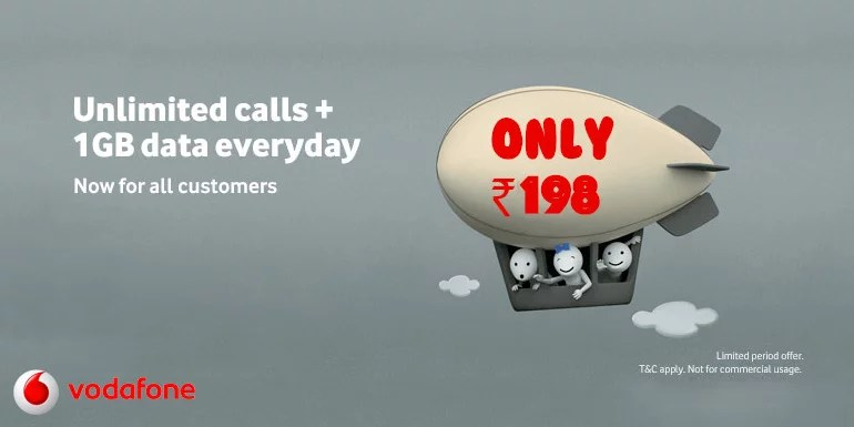 Vodafone India also revised it's Rs 198 Unlimited pack to add 1GB data per Day