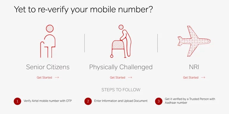Airtel now offers online Mobile re-verification with Aadhaar for Senior Citizens, Physically Challenged and NRI