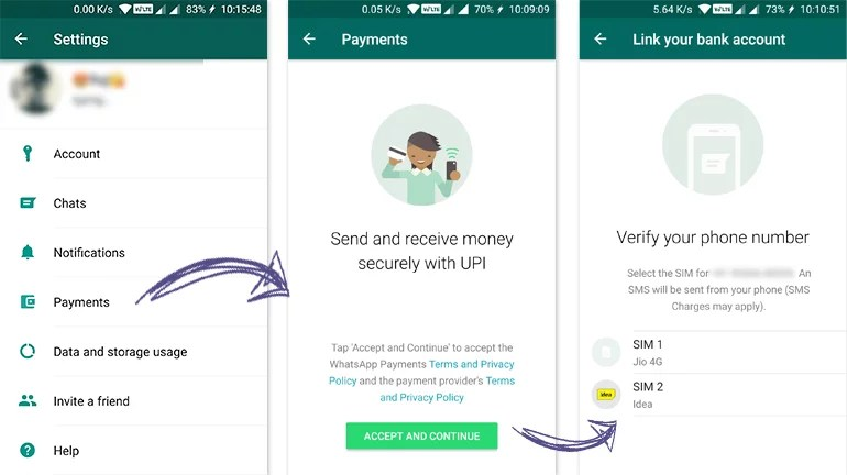 WhatsApp Payments initial UPI VPA setup