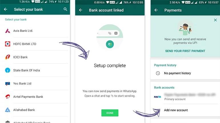 WhatsApp Payments UPI VPA setup and linking bank accounts