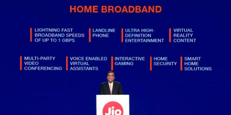 Jio Fiber home broadband service