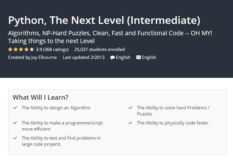 Python The Next Level Intermediate Udemy