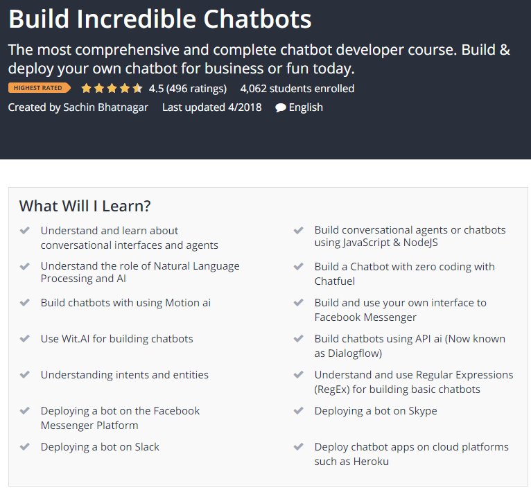 Build Incredible Chatbots Udemy