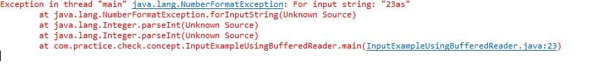 how to get input from user in java Exception in BufferedReader