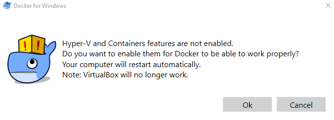 containers feature not enabled docker