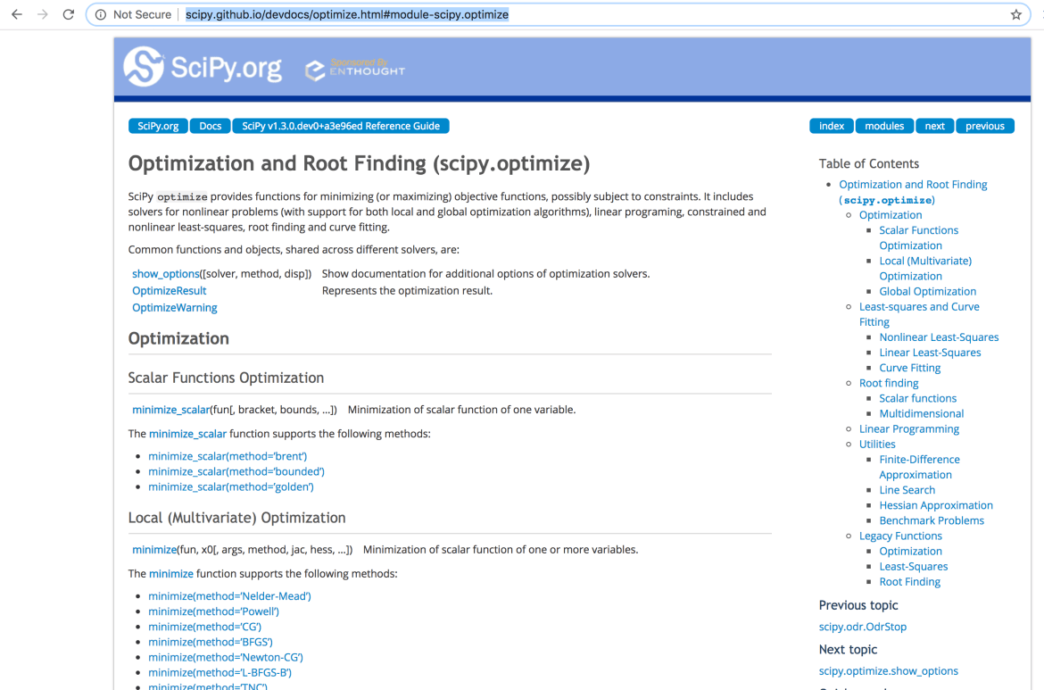 scipy.optimize OR pyhon library