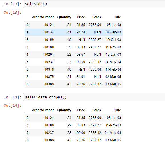delete rows with null values