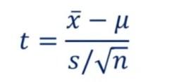 one sample t test formula