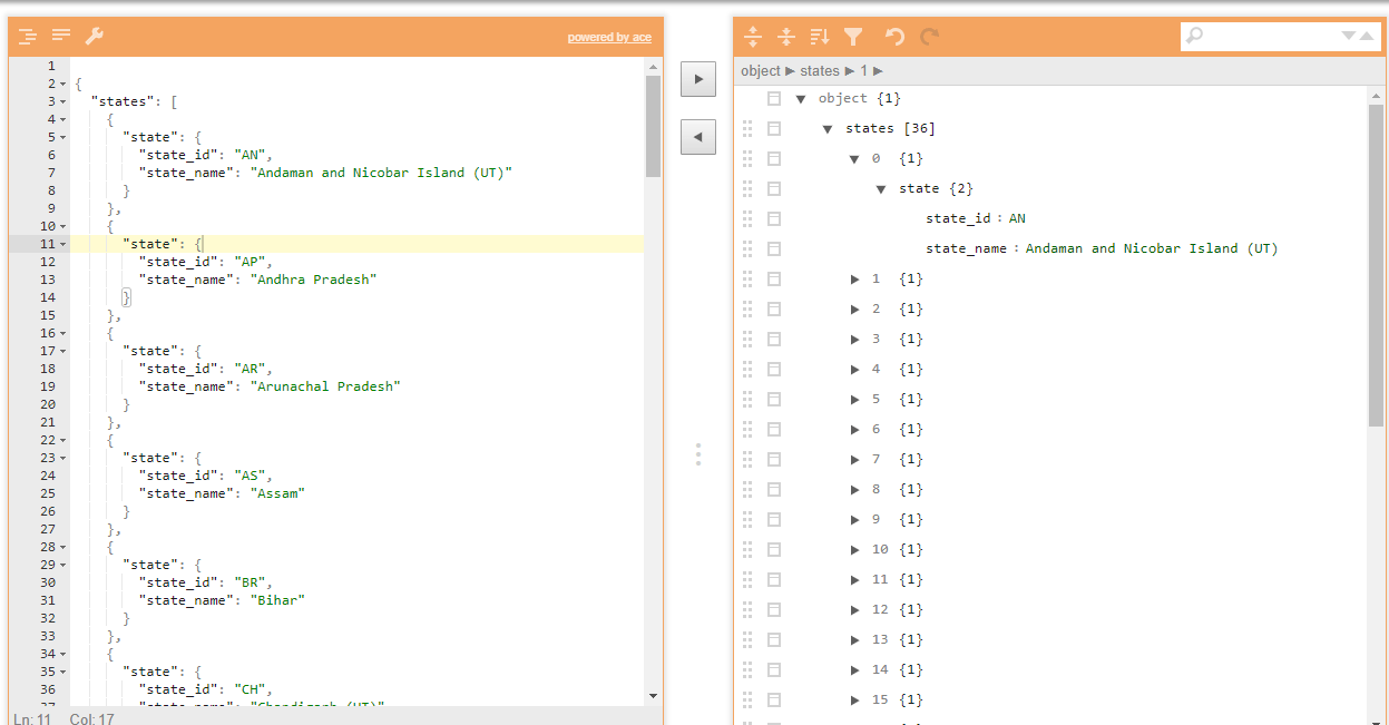 Format the JSON data