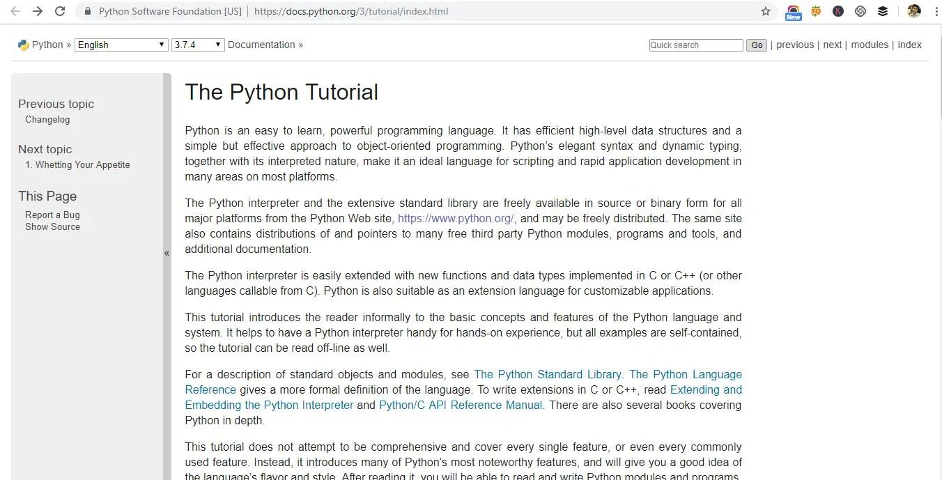 website for Python learning