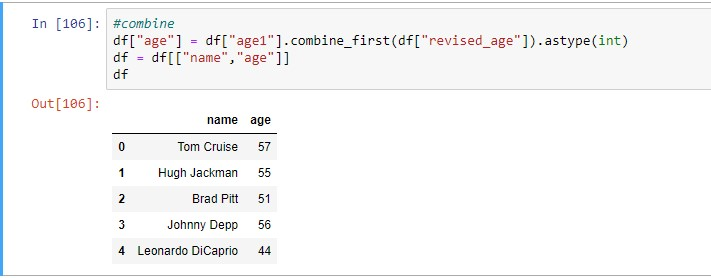 merging columns with approach 3 combine_first method