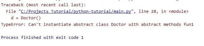 not implemented method error