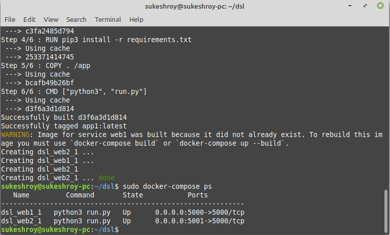 running docker-compose file