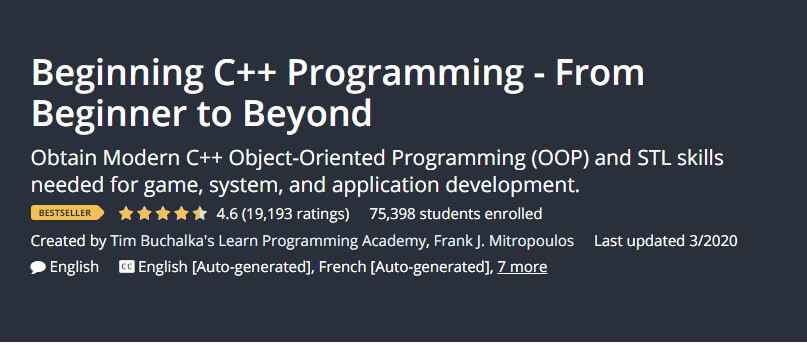 Beginning C++ Programming - From Beginner to Beyond
