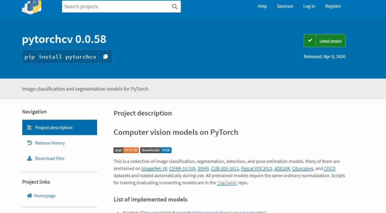 PytorchCV Installation Page