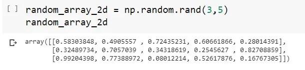 2D-Random Number Created Numpy Array