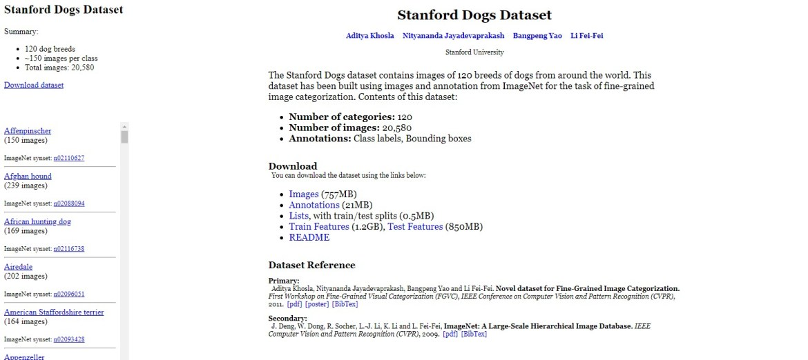 Stanford Dogs Dateset Official Page