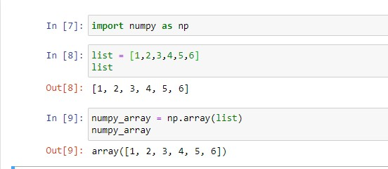 creating a numpy array from list