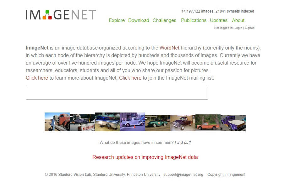 imagenet machine learning dataset website image