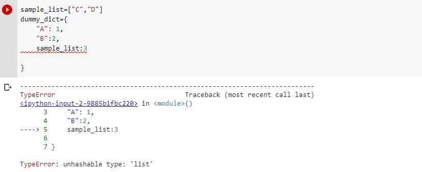 TypeError unhashable type list in dict