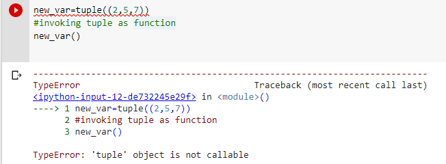Typeerror tuple object is not callable