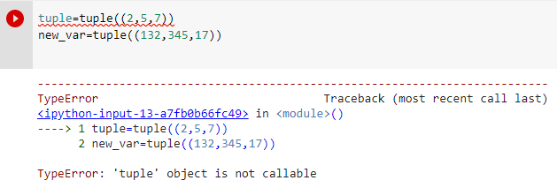 tuple object is not callable due to incorrect variable name