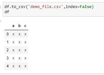Exporting the Dataframe to CSV with index set as False